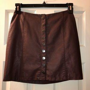 Free People leather burgundy skirt
